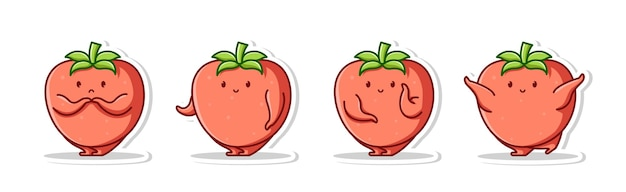 Niedliche bündelkarikatur der tomate
