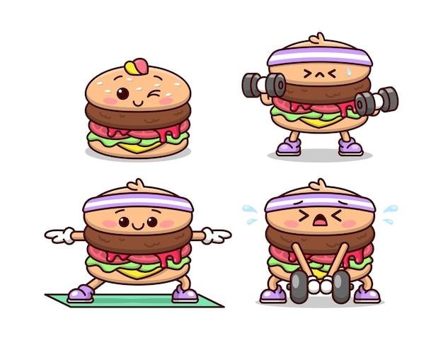 Niedliche burger-cartoon-charakter tun übung hochwertiges cartoon-illustrations-set