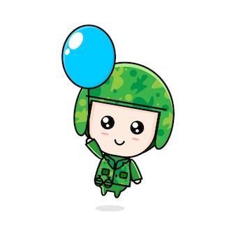 Niedliche cartoon-armee-chibi