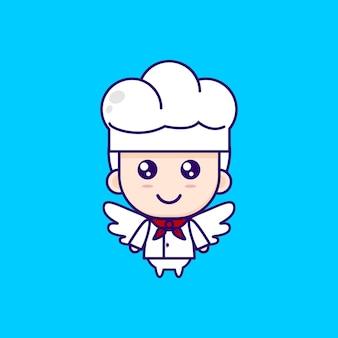 Niedliche cartoon-chef-illustration chibi-vektor-design