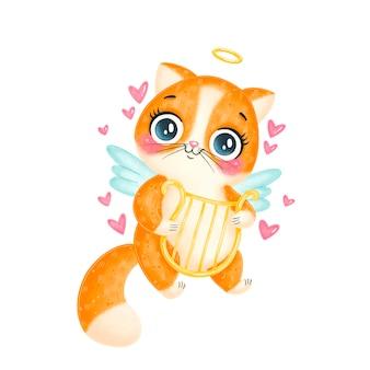 Niedliche cartoon cupid katze isoliert. valentinstag tiere.
