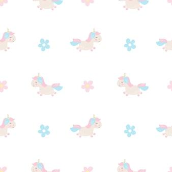 Niedliche cartoon-einhorn nahtlose baby-vektor-muster-hintergrund-illustration mit pastellblumen