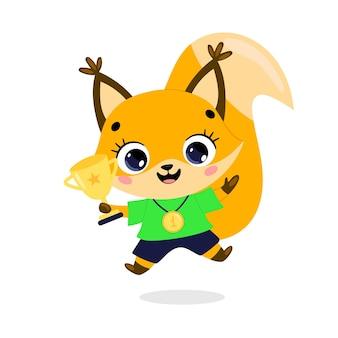 Niedliche cartoon-flache doodle-tiere sportsieger mit goldmedaille und pokal. eichhörnchen-sportsieger
