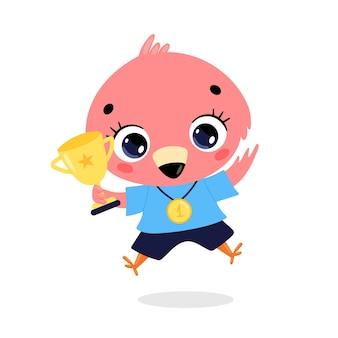 Niedliche cartoon-flache doodle-tiere sportsieger mit goldmedaille und pokal. gewinner des flamingosports