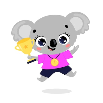 Niedliche cartoon-flache doodle-tiere sportsieger mit goldmedaille und pokal. koala-sportsieger