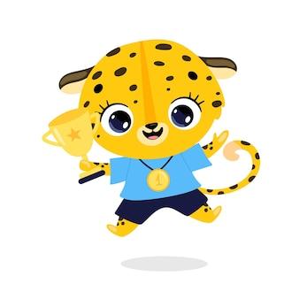Niedliche cartoon-flache doodle-tiere sportsieger mit goldmedaille und pokal. sieger des leoparden-geparden-sports