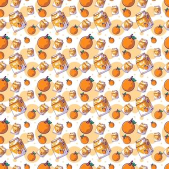 Niedliche cartoon-frucht orange mit milch nahtlose muster