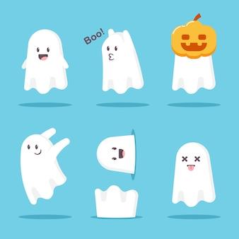 Niedliche cartoon-ghost-set. lustiges charaktermonster halloweens lokalisiert auf weißem hintergrund.