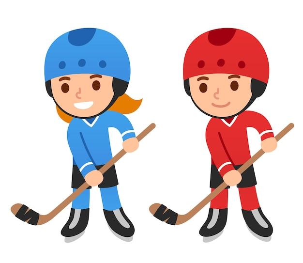 Niedliche cartoon-hockey-spieler junge und mädchen isolierte vektor-illustration