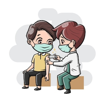 Niedliche cartoon-impf-illustration