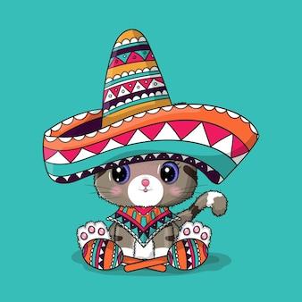 Niedliche cartoon-katze mit mexiko-hut. cinco de mayo