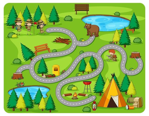 Niedliche cartoon-labyrinth-spielvorlage