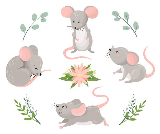 Niedliche cartoon-mäuse in verschiedenen posen mit floralen elementen. vektorillustration.