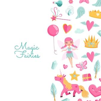 Niedliche cartoon-magie und märchenelemente
