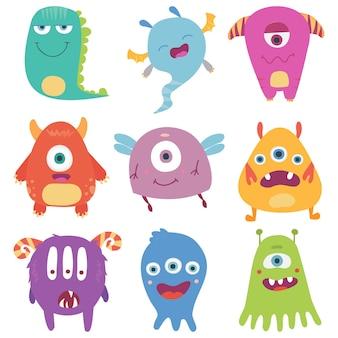 Niedliche cartoon-monster sind eine raupe, ein geist, ein kobold, ein bigfoot, eine mikrobe und ein außerirdischer.