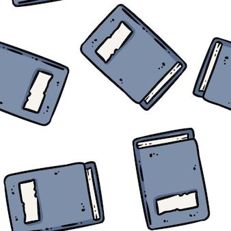 Niedliche cartoon-notizbücher kritzelt nahtloses grenzmuster. vektor wiederholbare hintergrundtexturfliese. gemütliche bastelvorlage der stockillustration für verpackungsdesign, tapete