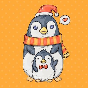 Niedliche cartoon-pinguine. karikaturillustration in der komischen modischen art.