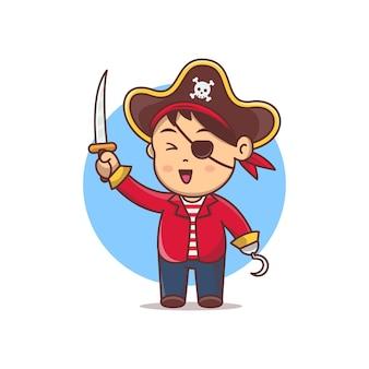 Niedliche cartoon-piraten-vektor-illustration. halloween-kostüm für kleine kinder. kleines kind trägt kostüm pirat und hält schwert