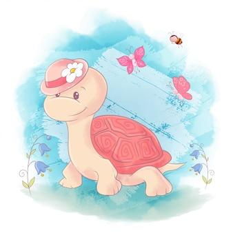 Niedliche cartoon-schildkröte auf einem blauen aquarellhintergrund