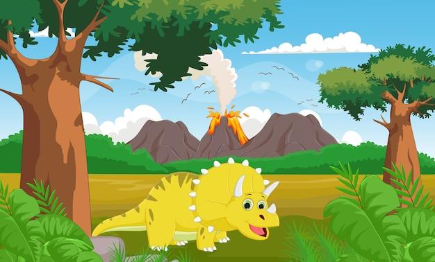 Niedliche cartoon triceratops mit vulkan hintergrund