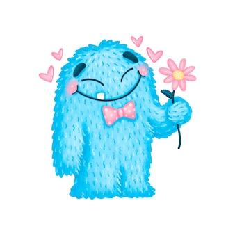 Niedliche cartoon valentinstag monster isoliert