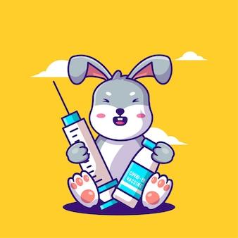 Niedliche cartoon-vektor-illustrationen häschen holding impfstoff equipent. symbolkonzept für medizin und impfung