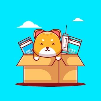 Niedliche cartoon-vektor-illustrationen katze im kasten mit impfstoff-ausrüstung. symbolkonzept für medizin und impfung