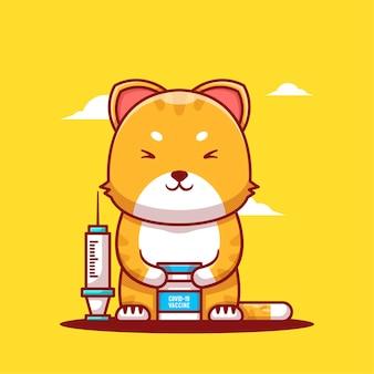 Niedliche cartoon-vektor-illustrationen katze mit impfstoff und flasche injizieren. symbolkonzept für medizin und impfung