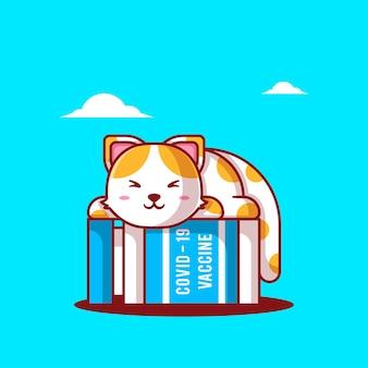 Niedliche cartoon-vektor-illustrationen katze schläft mit impfstoff-flasche. symbolkonzept für medizin und impfung