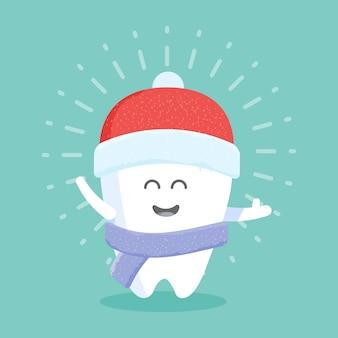 Niedliche cartoon-zahnfigur mit gesicht, augen und händen. das konzept für die persönlichkeit von kliniken, zahnärzten, postern, beschilderungen, websites.