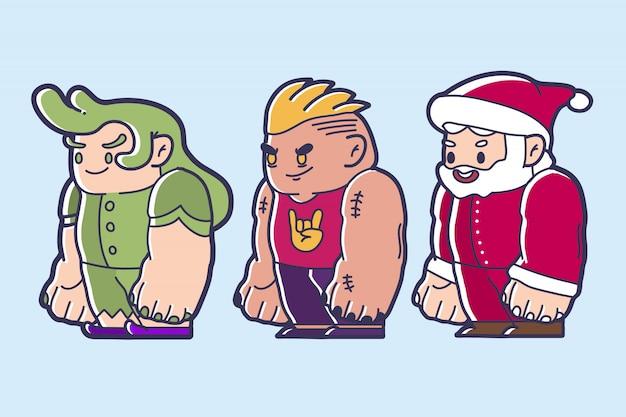 Niedliche cartooncharakterfee, tapferer mann und weihnachtsmann chibi