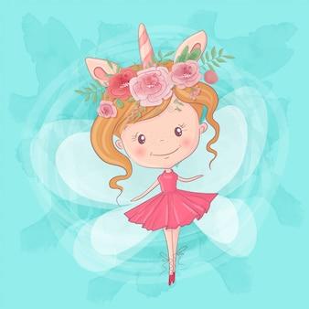 Niedliche cartoonfee-ballerina. handzeichnung