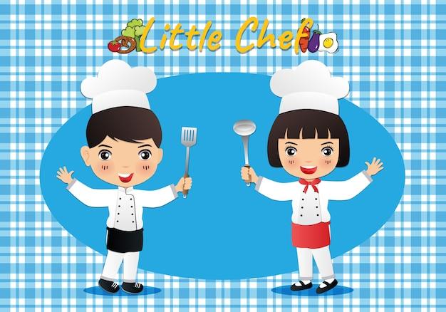 Niedliche cartoonillustration des kleinen chefs