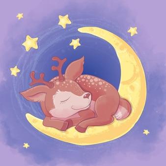 Niedliche cartoonrotwild der postkarte, die auf dem mond schlafen
