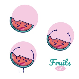 Niedliche cartoons der wassermelonen