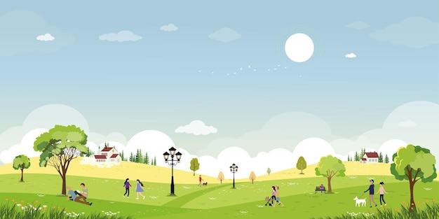 Niedliche cartoonspring-landschaft im öffentlichen park mit menschen, die sich draußen im garten entspannen relaxing
