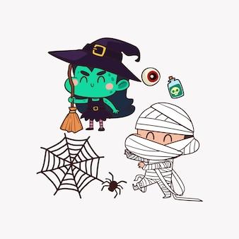 Niedliche charakter-halloween-partei