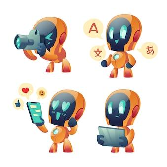 Niedliche chat-bot-karikatur, gesprächsroboter