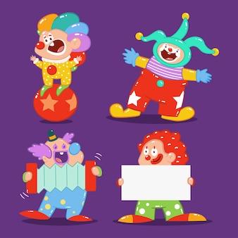 Niedliche clowns zeichentrickfiguren gesetzt isoliert.