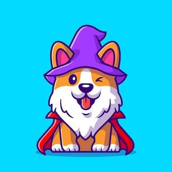 Niedliche corgi dog wizard cartoon illustration. flacher cartoon-stil