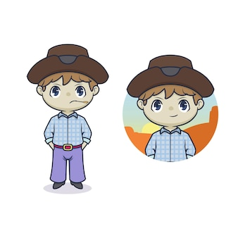 Niedliche cowboy-maskottchen-cartoon-illustration