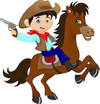 Niedliche cowboykinderkarikatur