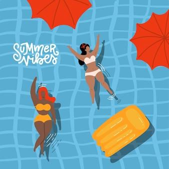 Niedliche dekorative sommer-vibes-banner mit schwimmenden frauen und mädchen in der handgezeichneten illustration des pools