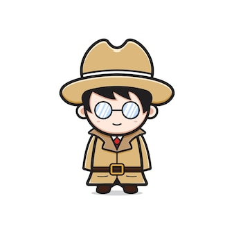 Niedliche detektivcharakter-cartoon-symbolillustration. entwerfen sie isolierten flachen cartoon-stil