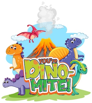 Niedliche dinosaurier-cartoon-figur mit dino-mite-schriftart-banner