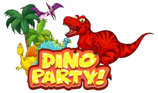 Niedliche dinosaurier-cartoon-figur mit dino party-schriftart-banner