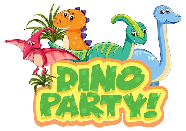 Niedliche dinosaurier-cartoon-figur mit dino-party-schriftart-banner
