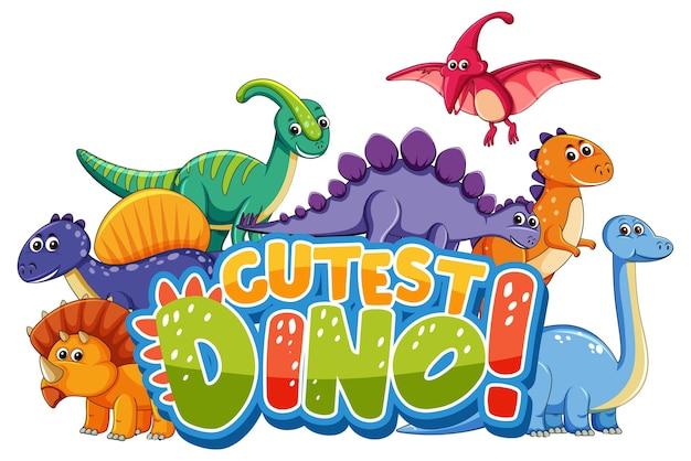 Niedliche dinosaurier-cartoon-figur mit süßester dino-schriftart-banner Premium Vektoren