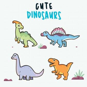 Niedliche dinosaurier gesetzt