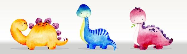 Niedliche dinosaurier setzen aquarellillustration